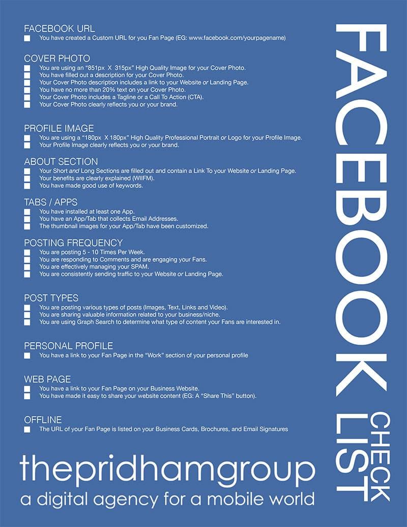 A Handy Facebook Checklist