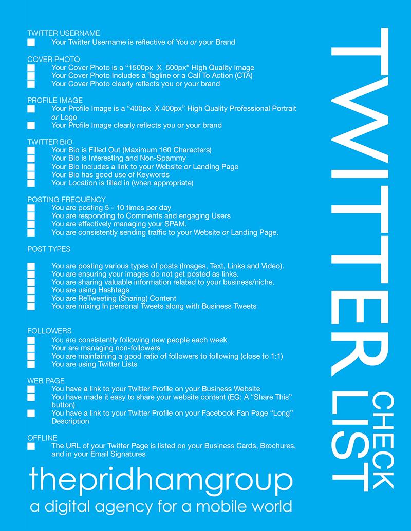 A Handy Twitter Checklist