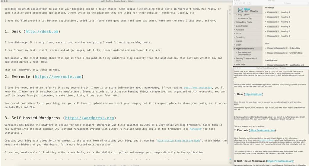 Desk Blogging Application