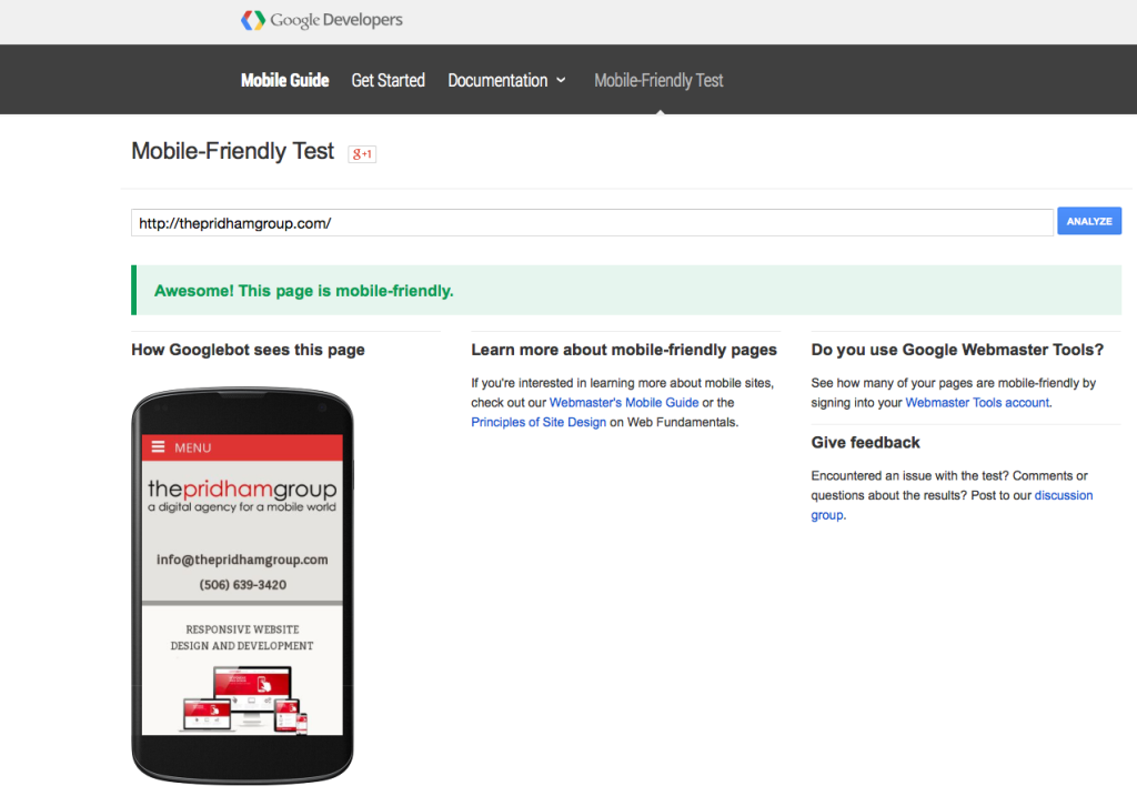 the-pridham-group-mobile-friendly-website-google-test
