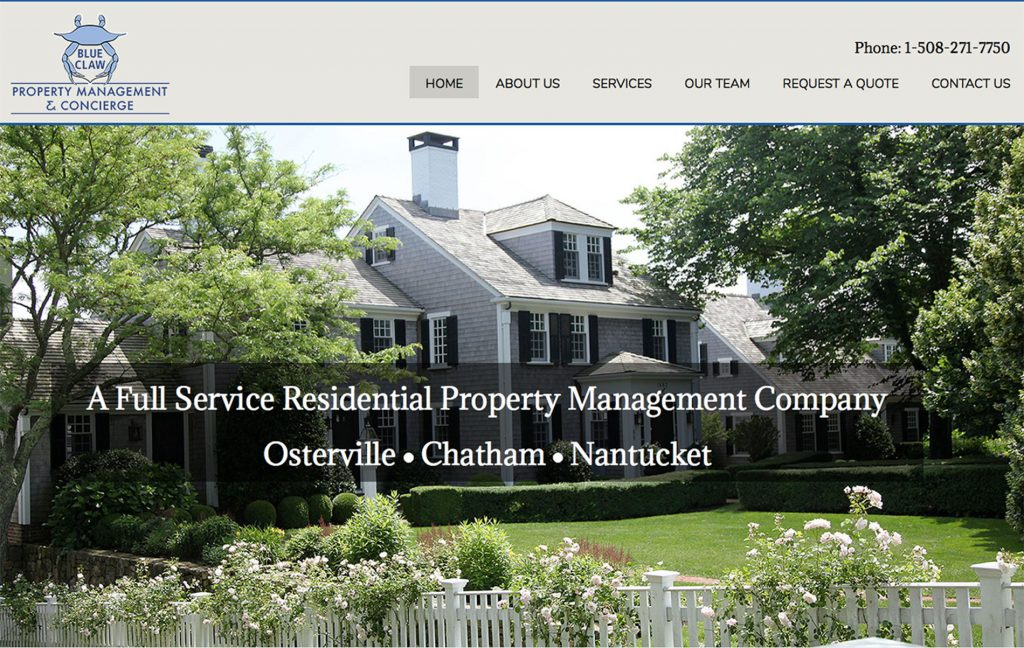 Blue Claw Property Management 7 Concierge - Website by The Pridham Group
