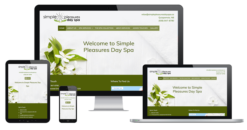 Image of Simple Pleasures Day Spa Website by The Pridham Group