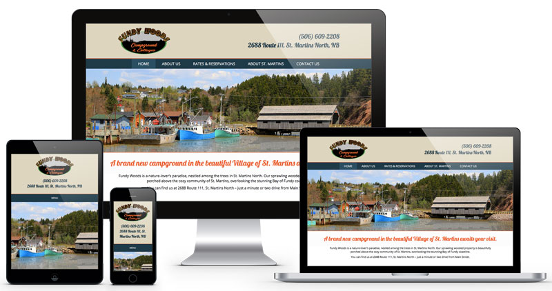 Fundy Woods Campround and Cottages website by The Pridham Group