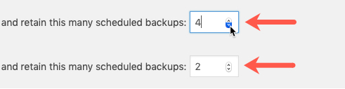 Configure Number Of Backups