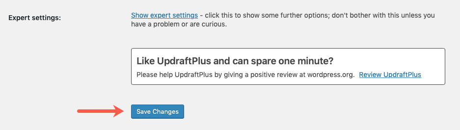Save Updraft Plus Changes
