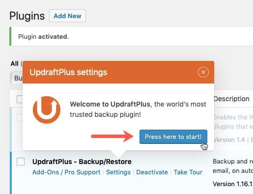 Start Updraft Plus Configuration