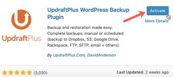 Activate Updraft Plus