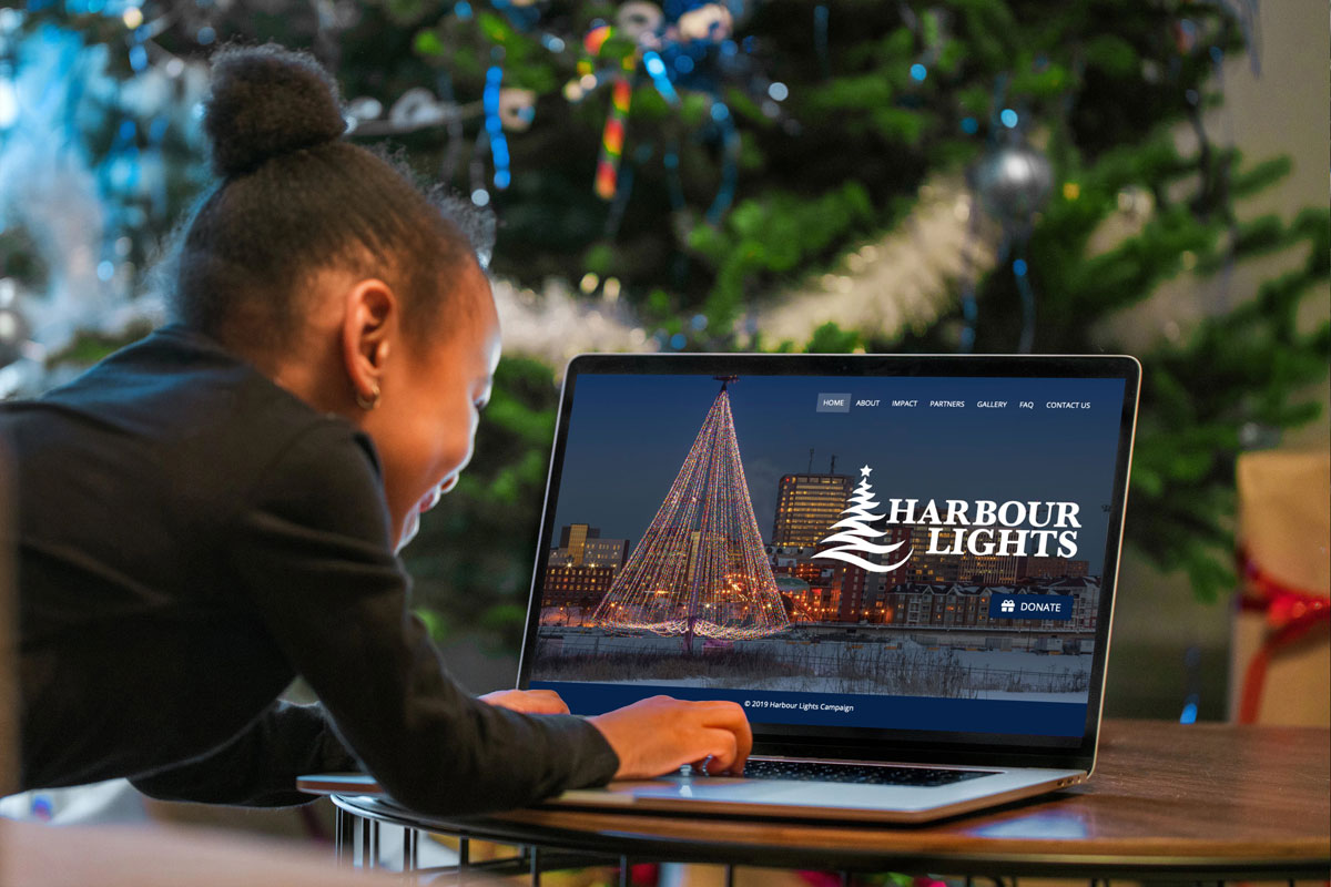 Harbour Lights Campaign Dislayed On A Laptop At Christmas