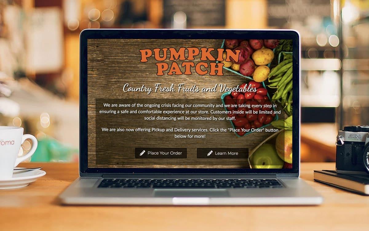 The Pumpkin Patch Website displayed on a MacBook