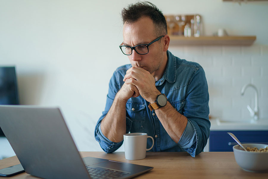 Man Viewing Website