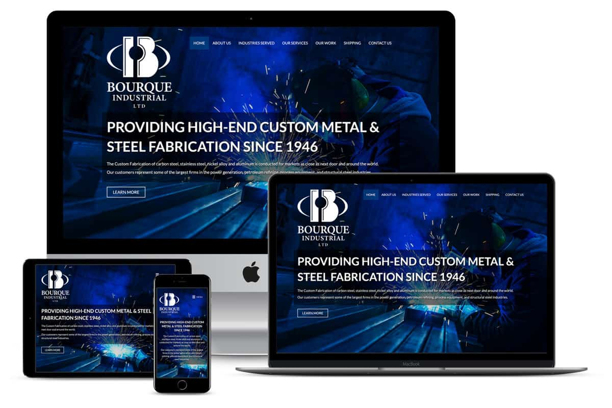 Bourque Industrial Ltd Website By The Pridham Group Displayed On Multiple Devices