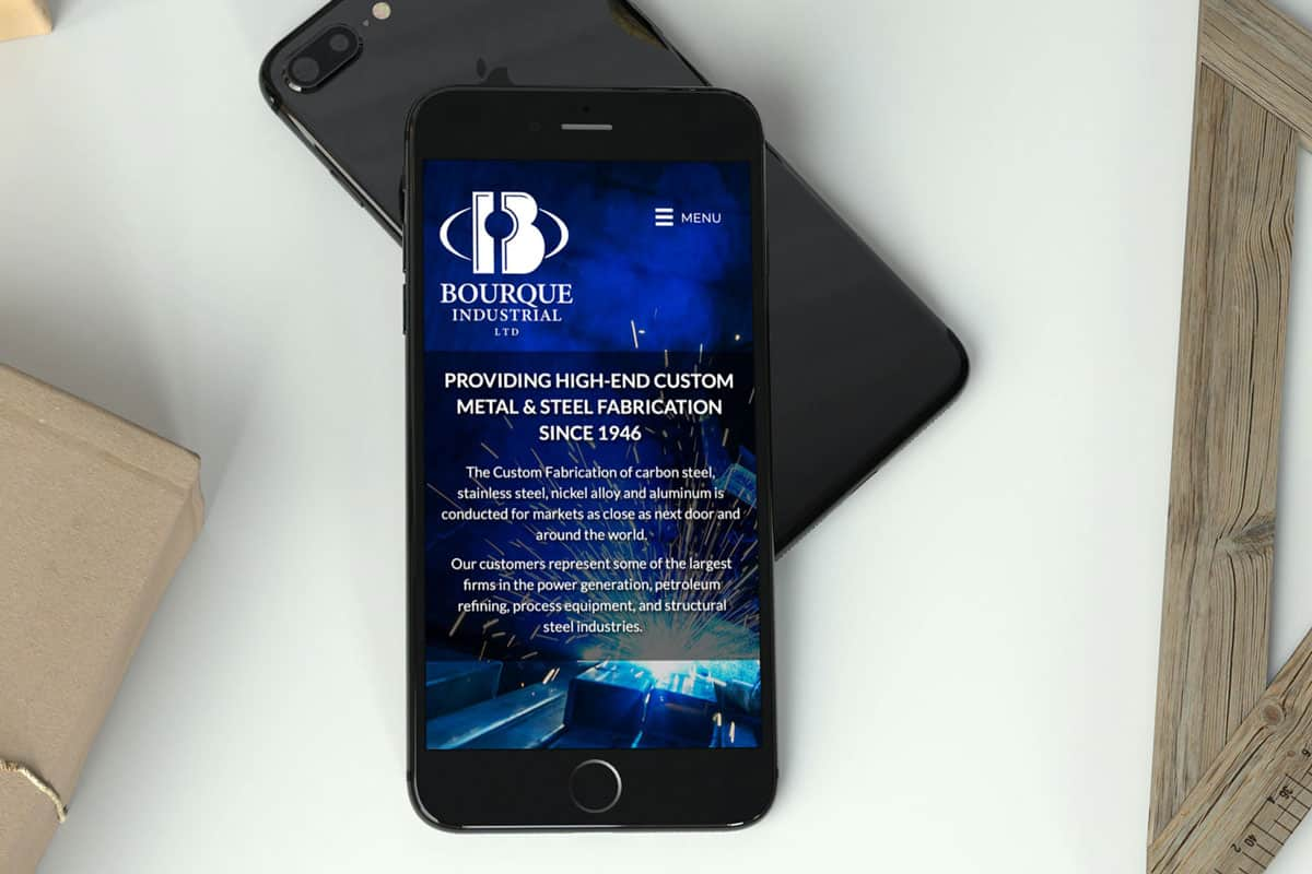 Bourque Industrial Ltd Website By The Pridham Group Displayed On An iPhone