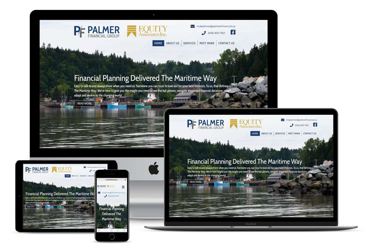 Palmer Financial Group Website Design by The Pridham Group Displayed On Multiple Apple Devices