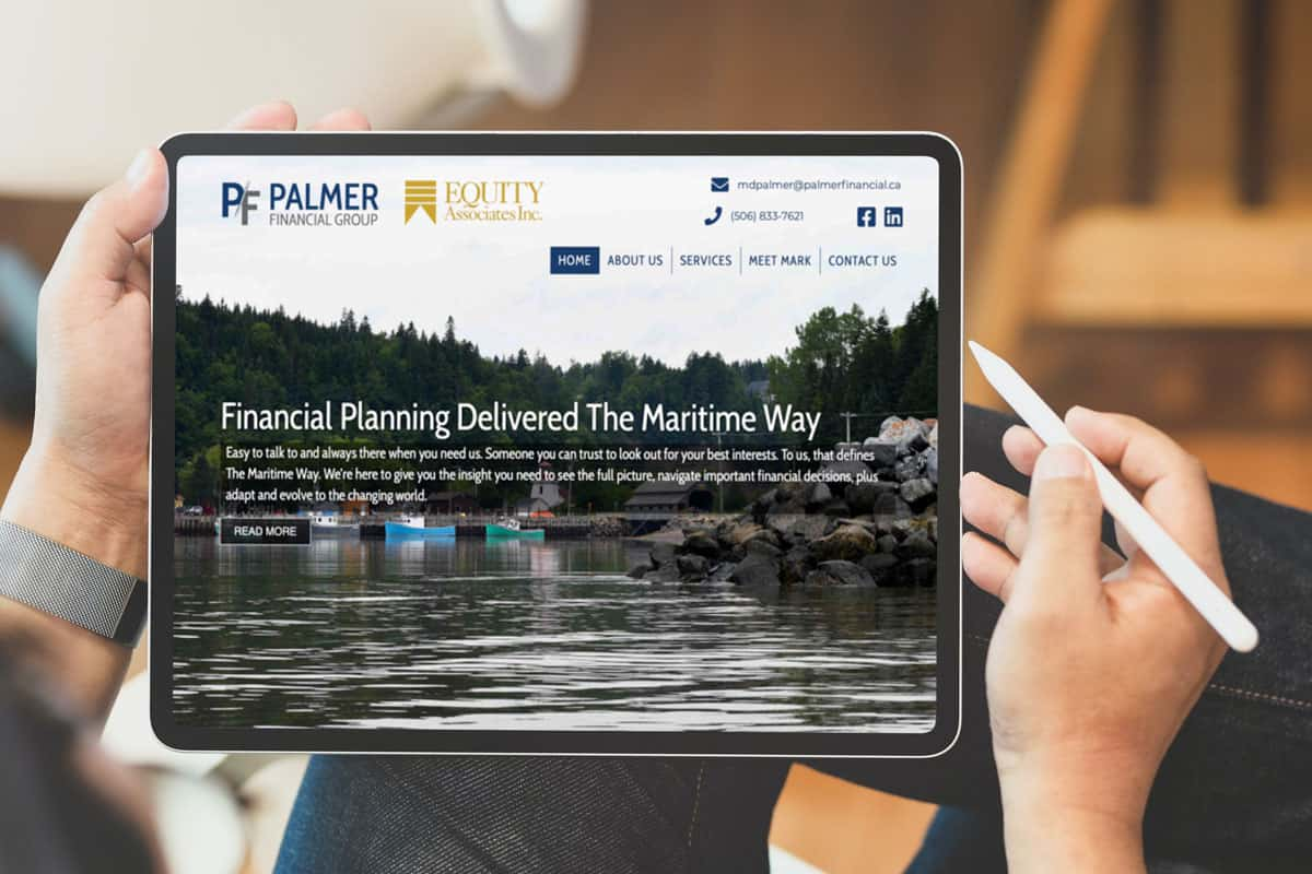 Palmer Financial Group Website Design by The Pridham Group Displayed On iPad Pro