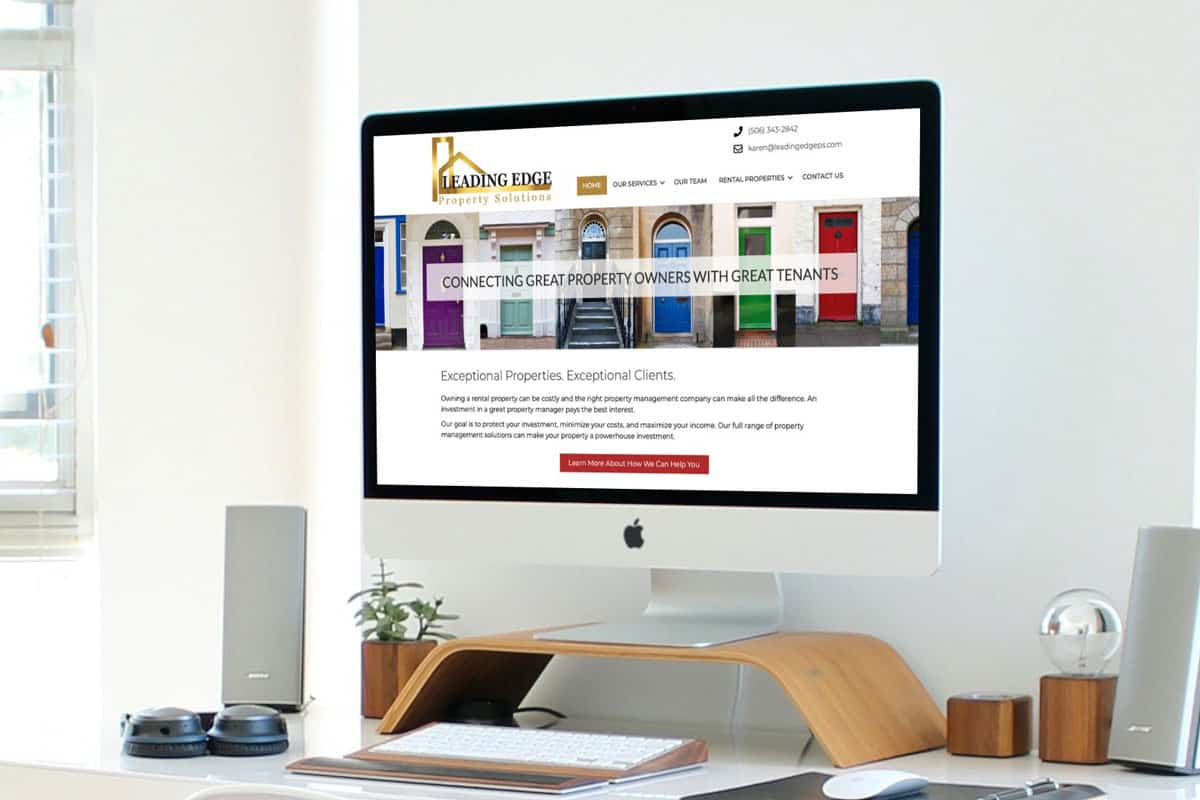 Leading Edge Property Solutions Website Design displayed on an iMac