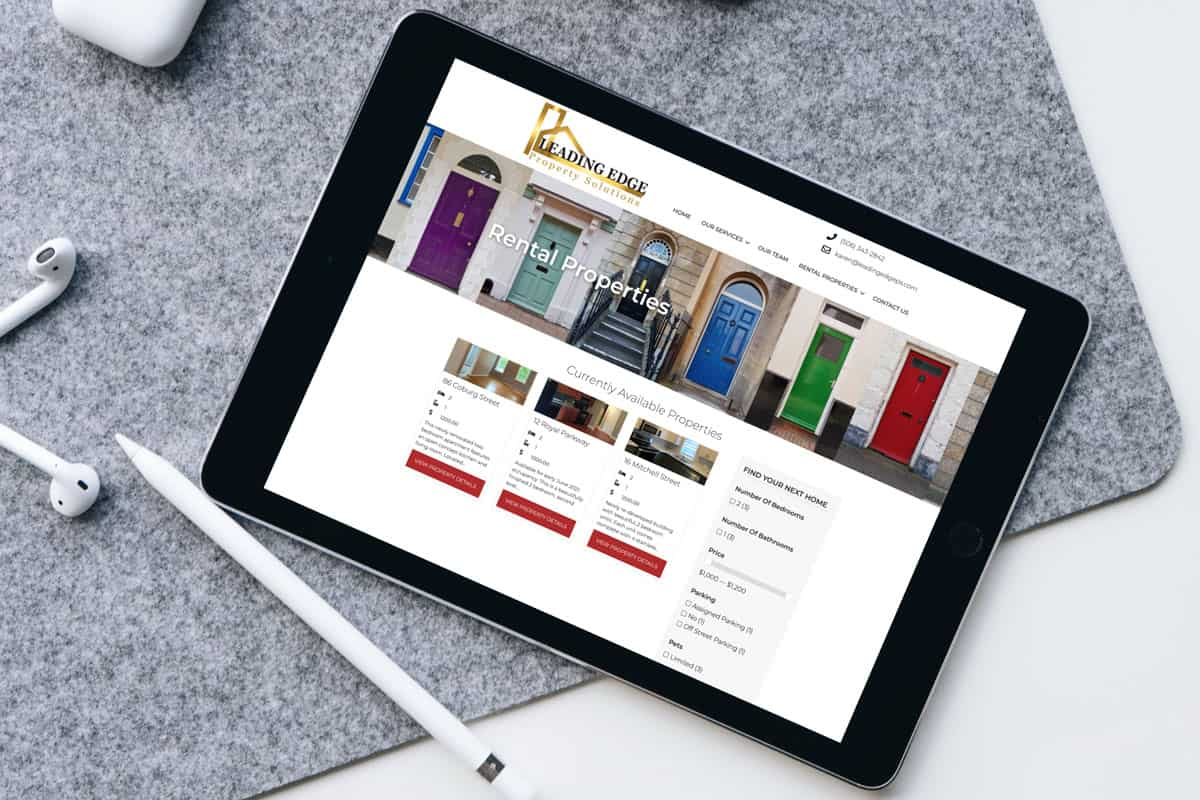 Leading Edge Property Solutions Website Design showing Property Search Functionality On An iPad