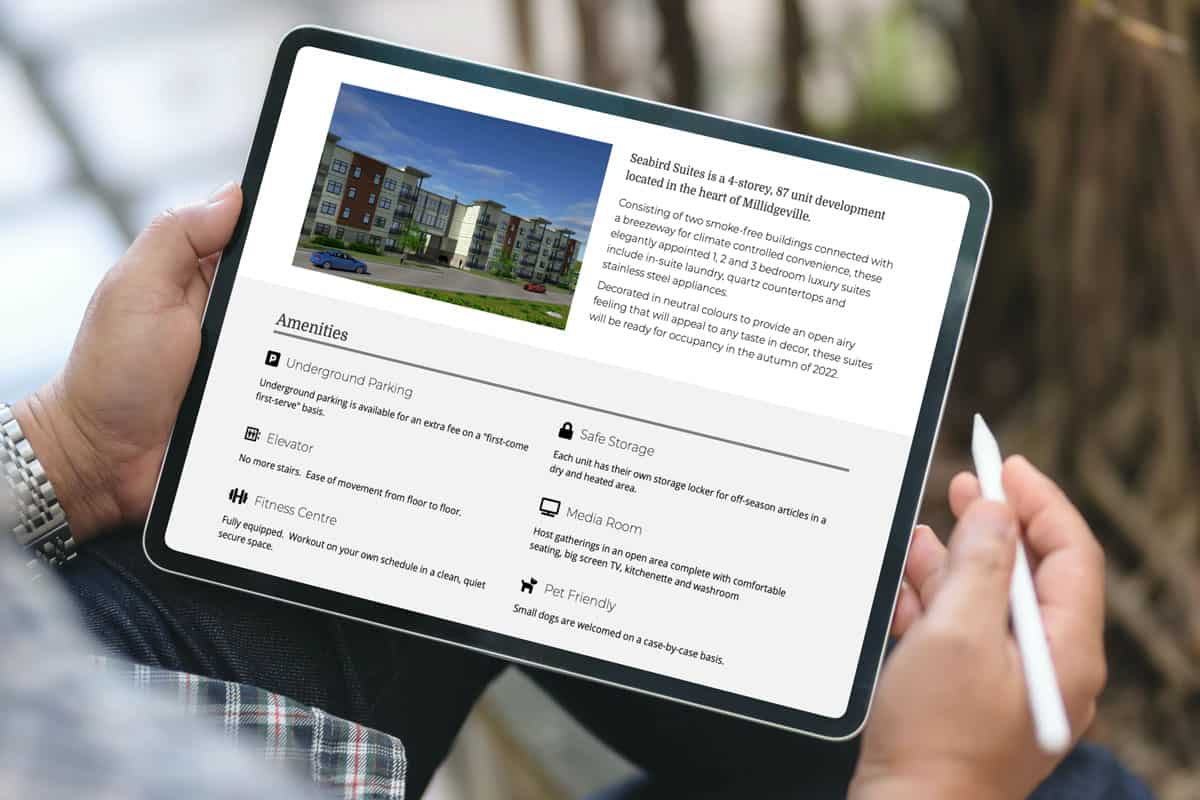 SeaBird Suites website design by The Pridham Group displayed on an iPad